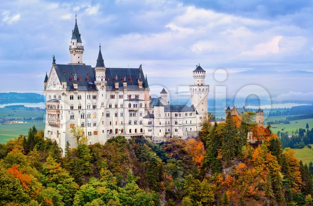 Castle Neuschwanstein in bavarian Alps in early morning light Stock Photo