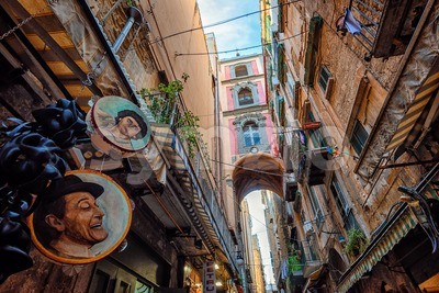 Via San Gregorio Armeno street, Naples Old Town, Italy Stock Photo