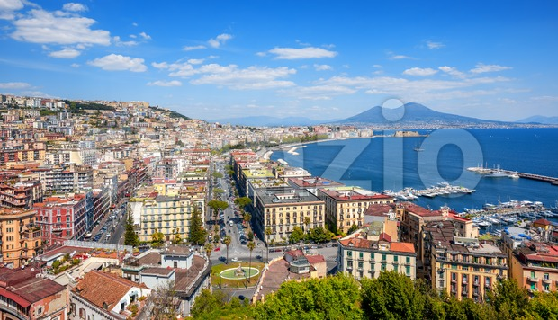 Panoramic view of Naples city, Mount Vesuvius and gulf of Napoli, Mediterranean sea, Italy