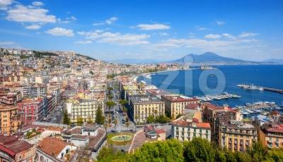 Panoramic view of Naples city and Mount Vesuvius, Italy Stock Photo