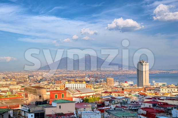 View of Naples city and port with Mount Vesuvius, Mediterranean sea, Italy