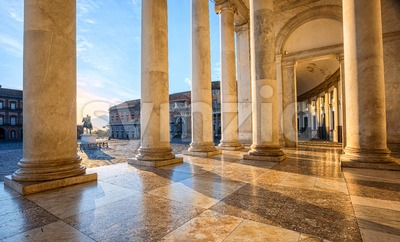 Piazza del Plebiscito square, Naples, Italy Stock Photo