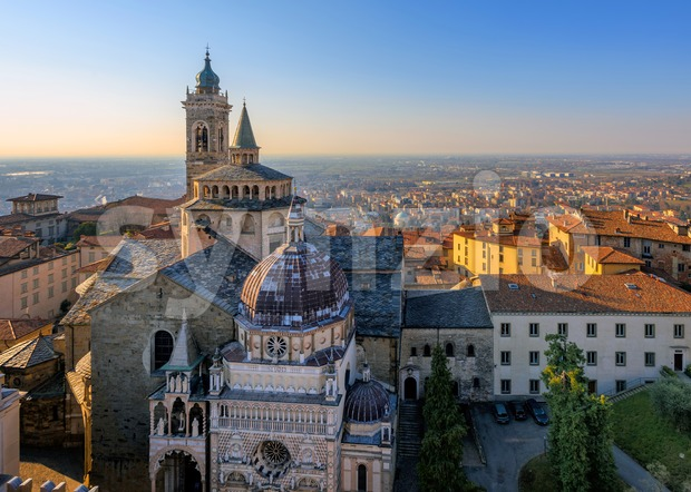 Panorama of Bergamo Old Town, Italy Stock Photo