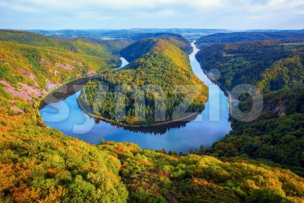 River Saar loop in Mettlach, Saarland, Germany Stock Photo