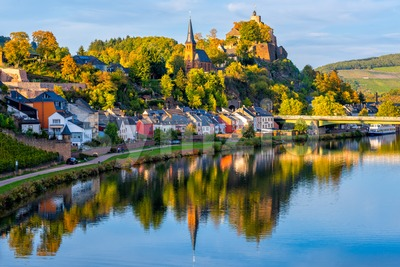 Saarburg town on Saar river, Saarland, Germany Stock Photo