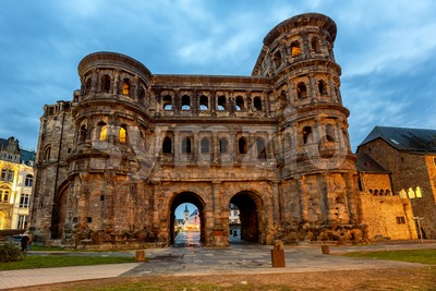 Porta Nigra, an ancient roman gate in Trier, Germany Stock Photo