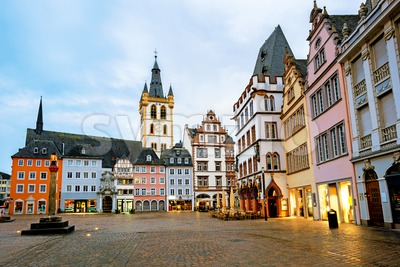 Historical Main Market square in the Old Town of Trier, Germany Stock Photo