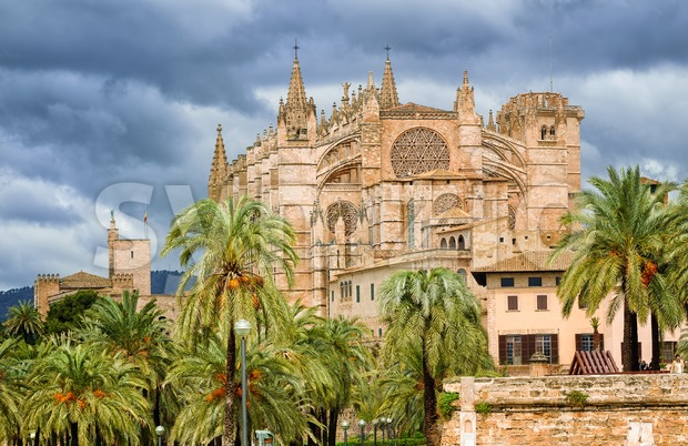 Gothic style Dome of Palma de Mallorca, Spain Stock Photo