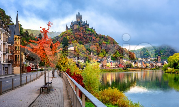 Cochem historical romantic town on Moselle river valley, Germany, in red autumn colors