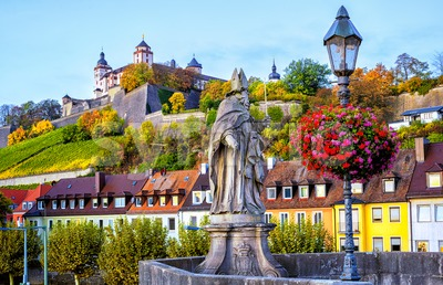 Wurzburg, Bavaria, Germany, view to Marienberg Fortress Stock Photo