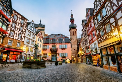Colorful half-timbered houses in Cochem, Germany Stock Photo