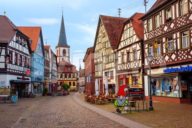 Lohr am Main, Germany - June 01, 2019: Medieval historical town Lohr am Main, Germany, famous for its half-timbered houses, ...