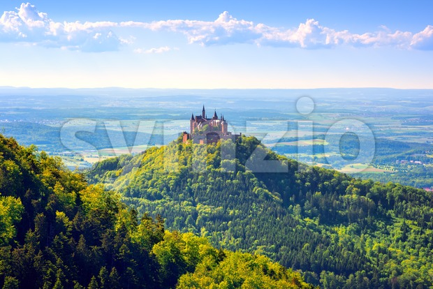 Burg Hohenzollern castle in Black forest, Germany, is one of the biggest and most visited castles in Europe
