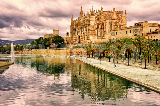 La Seu, the cathedral of Palma de Mallorca, Spain, in sunset light Stock Photo