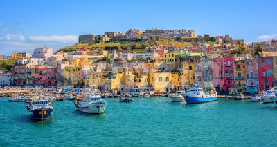 Port of Procida island in Gulf of Naples, Italy Stock Photo