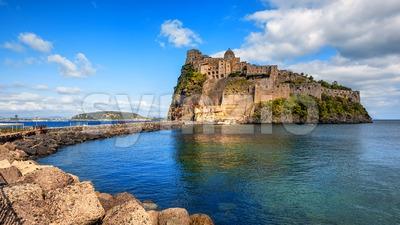 Aragonese Castle on Ischia island, Italy Stock Photo