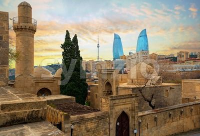 Old and modern architecture in Baku city, Azerbaijan Stock Photo