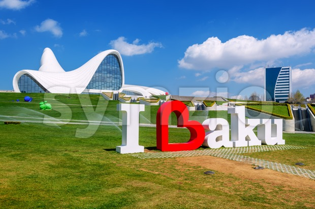 Baku, Azerbaijan - April 12, 2017 : Heydar Aliyev Centre building designed by famous architect Zaha Hadid. The Center is ...