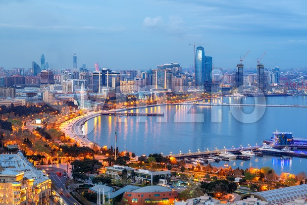 Baku city, Azerbaijan, view of the modern skyline on the Caspian sea coast