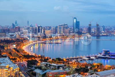 Baku city modern skyline, Azerbaijan Stock Photo