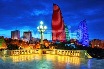 Baku city night view, Azerbaijan Stock Photo