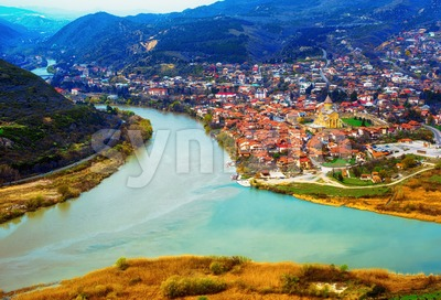 Mtskheta town on two rivers in Georgia Stock Photo