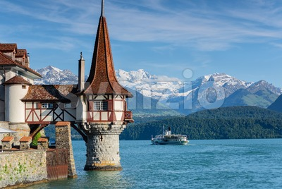Lake Thun, Switzerland, Bernese Highlands Stock Photo