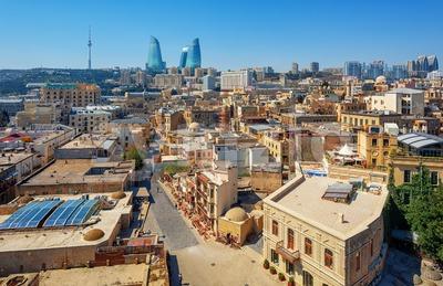Baku city, the Old town and modern skyline, Azerbaijan Stock Photo