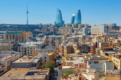 Baku city, the Old town and modern skyline, Azerbaijan Stock Photo