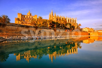 Gothic cathedral of Palma de Mallorca, Spain Stock Photo
