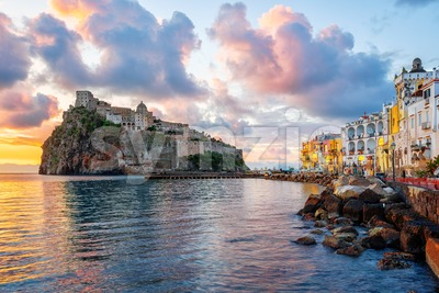 Aragonese Castle and Ischia town on sunrise, Italy Stock Photo