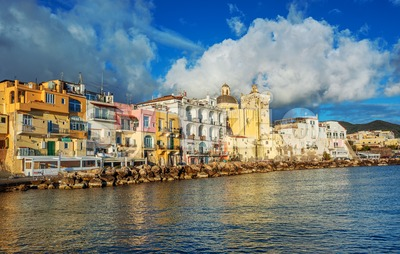 Ischia town waterfront, Naples, Italy Stock Photo