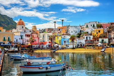 Forio town on Ischia island, Naples, Italy Stock Photo