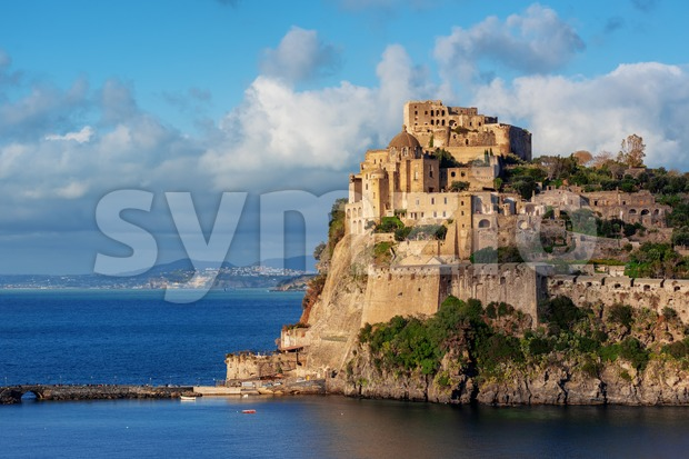 The Aragonese castle, the main historical landmark of Ischia island, Naples, Italy, in sunset light