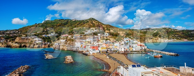 Panoramic view of the beautiful village Sant'Angelo on Ischia island, Naples, Italy, is a popular tourist resort famous for its ...