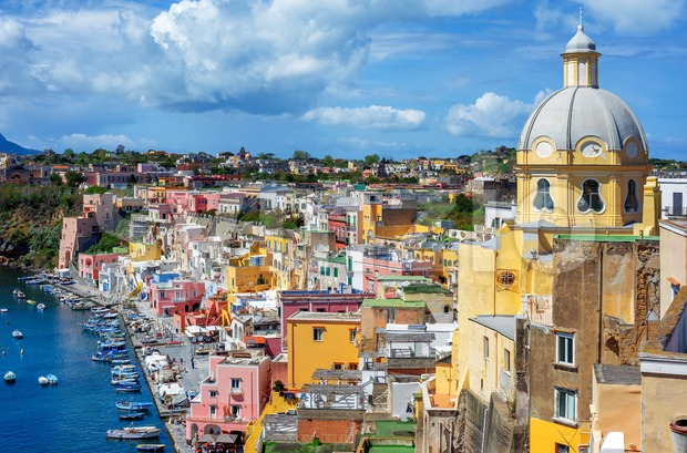 Marina Corricella, the colorful Old town and historic center of Procida island, Naples, Italy
