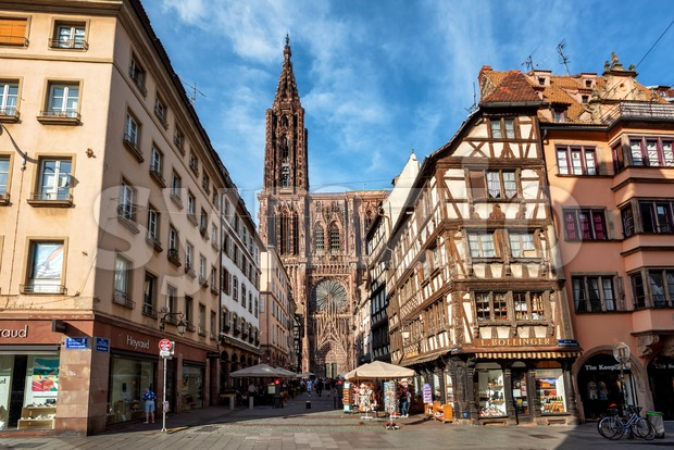 Strasbourg, France - June 23 2019: Strasbourg city center with historical half-timbered houses and beautiful gothic cathedral is a popular ...