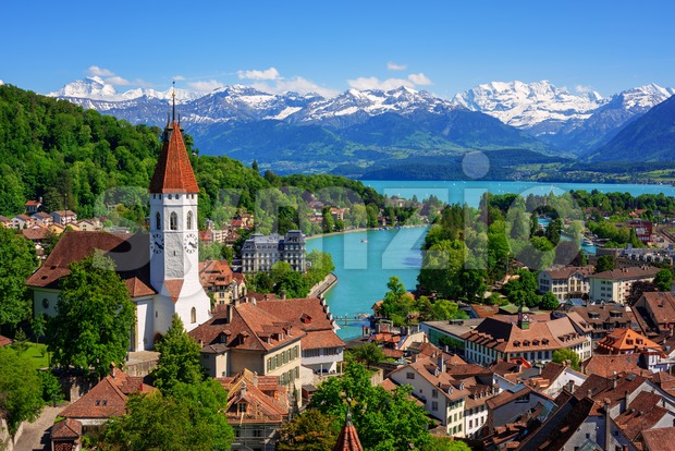 Thun city and lake in swiss Alps, Switzerland Stock Photo