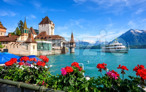 Oberhofen castle on Lake Thun, Switzerland Stock Photo