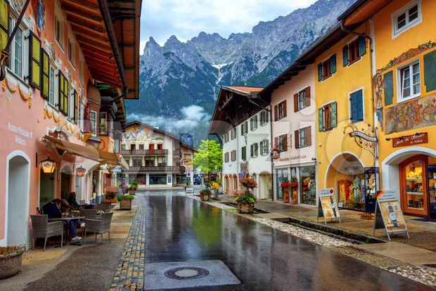 Colorful houses in Mittenwald Old town, Alps mountains, Germany Stock Photo
