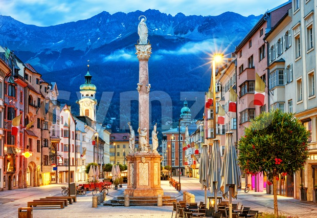 Innsbruck Old town in Alps mountains, Tyrol, Austria