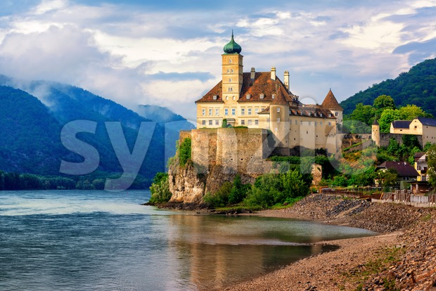 The medieval Schonbuhel castle, built on a rock on Danube river is a main historical landmark and popular tourist attraction ...