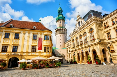 Sopron historical city center with Fire tower, Hungary Stock Photo