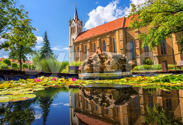 Keszthely city, Hungary, a popular resort on lake Balaton, view of the historical Old town, central square and the Our ...