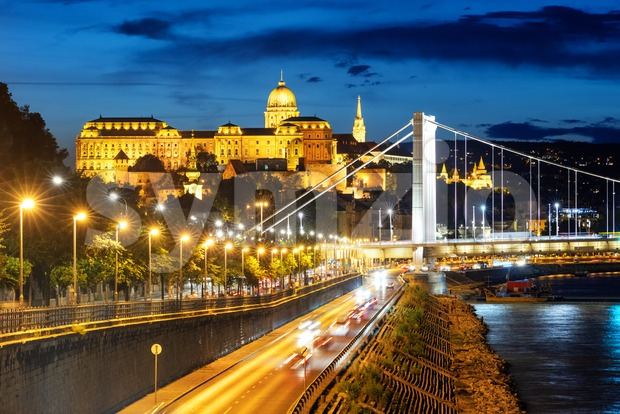 Budapest city, Hungary, view of the Buda castle building, Elisabeth bridge and Danube river in the late evening light