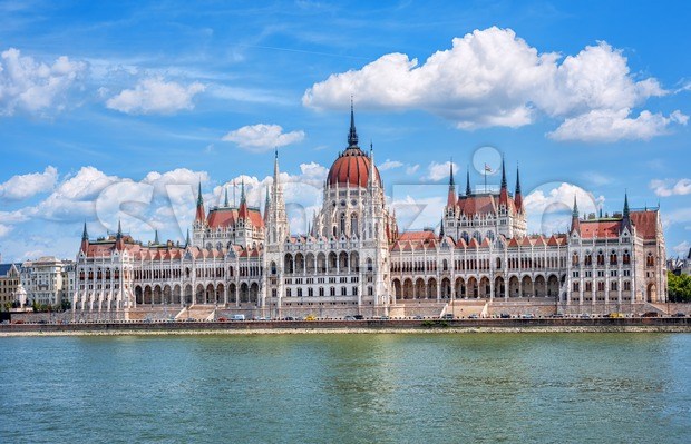 Budapest, Hungary, view of the beautiful Parliament building on Danube river, the main landmark of the city