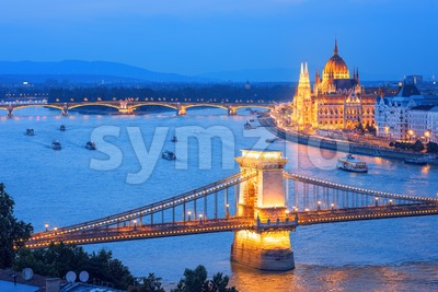 Budapest city on Danube river in the evening, Hungary Stock Photo