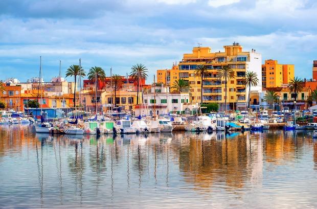 Apartment village in Palma de Mallorca, Majorca, Spain Stock Photo
