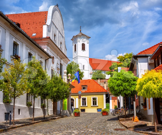 Szentendre, a medieval Old town in Hungary, view of the Town Hall and Peter and Paul church.. Szentendre is a ...