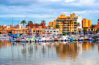 Apartment village in Palma de Mallorca, Majorca, Spain Stock Photo